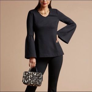 Cabi It's a Party Black bell sleeve blouse XS